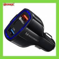 5907769300004 GSM - Wozinsky ładowarka samochodowa szybkie ładowanie QC3.0 2xUSB/USB Typ C czarny (WCC-01)