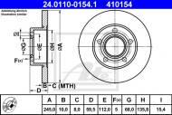 24.0110-0154.1 ATE - TARCZA HAMULCOWA AUDI 100  82-90 TYŁ 2,2TURBO-2,5TDI