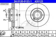 24.0120-0123.1 ATE - TARCZA HAM.PRZÓD VW GOLF II III 84-97