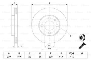 0986478017 BOSCH - TARCZA HAM. AUDI 80/VW GOLF/PASSAT