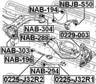 0229-003 FEBEST - ŚRUBA Z MIMOŚRODEM NISSAN 350Z Z33 2002.06-2008.10 US